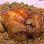 طريقة عمل الدجاج المحشي بالشعرية